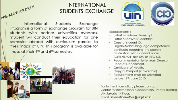 International Students Exchange International Students Exchange Program is a form of exchange program for UIN students with partner universities overseas. Student will conduct their education for one semester abroad with […]