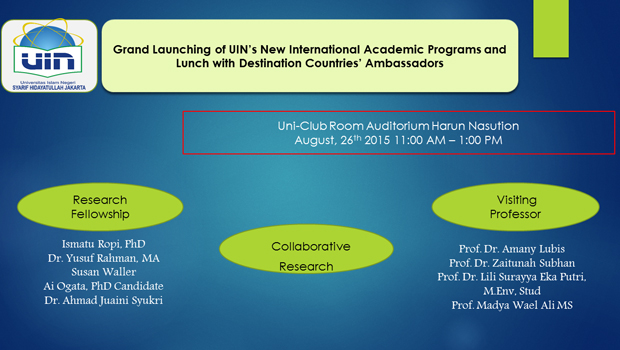 Grand Launching of UIN's New International Academic Programs and Lunch with Destination Countries Ambassadors Uni-Club Room Auditorium Harun Nasution August, 26th 2015 11:00 AM – 1:00 PM Research Fellowship: Ismatu […]