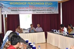 Direktur SPs UIN Jakarta Prof Dr Masykuri Abdillah membuka Workshop Percepatan Studi bagi para mahasiswa program Doktor di Hotel Sahira, Bogor, pada 30-31 Oktober 2015.  Workshop diharap membantu para mahasiswanya menyelesaikan studi secara tepat waktu.