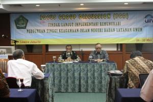Rektor UIN Jakarta saat memberikan sambutan pada acara FGD Implementasi Remunerasi PTKIN-BLU. Hotel Lumire, Selasa-Kamis (10-12/05).