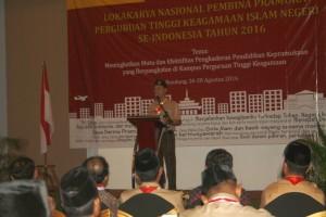 Nanang Syaikhu saat memberi sambutan selaku ketua panitia Lokakarya Pembina Pramuka Perguruan Tinggi Keagamaan Islam Negeri se-Indonesia di Bandung, Jawa Barat, Jumat (26/8). (Foto: Istimewa)
