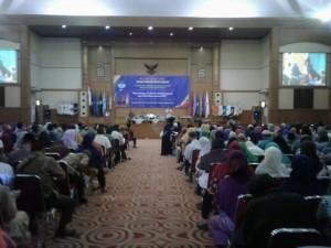 Suasana pertemuan antara pimpinan FITK dan para wali mahasiswa di gedung Auditorium Prof Dr Harun Nasution, Selasa (30/8).