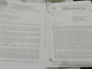 Surat somasi Kementerian Agama (kiri) terhadap Yayasan Institut Ilmu Al-Qur'an (IIQ) terkait lahan milik negara seluas 1.915 meter persegi di Pisangan, Ciputat Timur, Tangerang Selatan, dan surat bantahan YIIQ (kanan). (Foto: Repro)