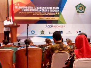 Menteri Agama Republik Indonesia Drs  H Lukman Hakim Saifuddin resmikan acara Peluncuran studi-studi Kementerian Agama tentang Pendidikan Islam di Indonesia, Rabu, (23/11), di Auditorium KH M Rashid, Kementrian Agama Jakarta.