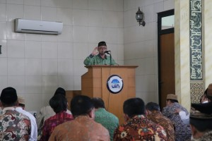 Rector of UIN Jakarta Prof Dr Dede Rosyada during his speech at al-Jami'ah mosque, Tuesday, (1/3)
