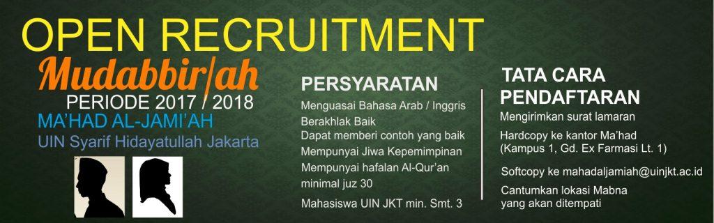 Ma'had al-Jamiah Opens New Recruitment for Mudabbir and Mudabbirah