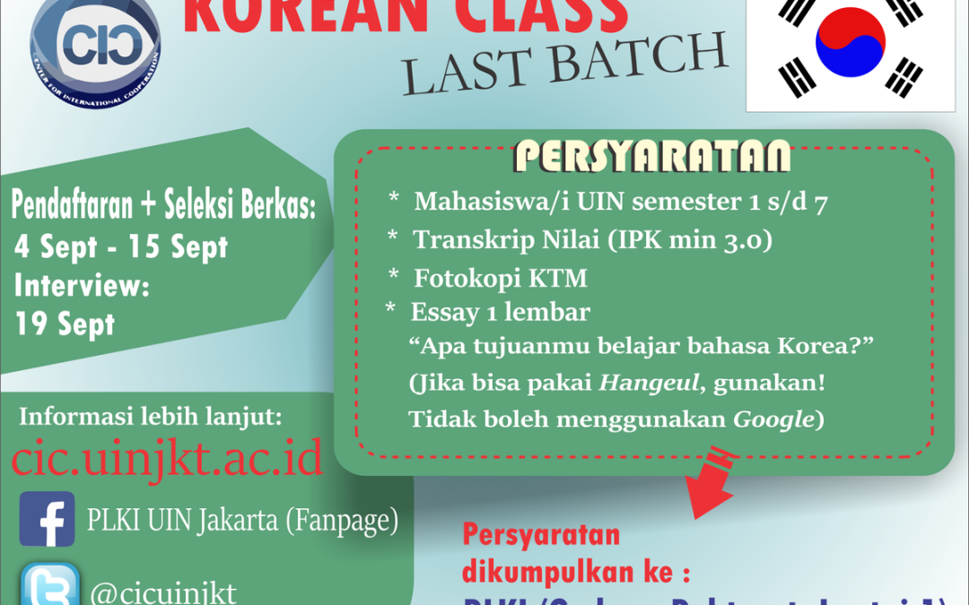 UIN Jakarta Will Open the 3rd Batch Korean Language Course