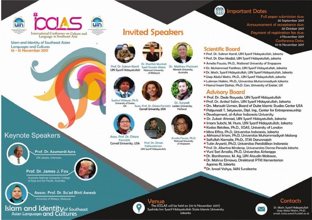 International Conference on Culture and Language in Southeast Asia: Islam and Identity of Southeast Asian Languages and Cultures @ Syahida Inn Syarif Hidayatullah State Islamic University Jakarta | Banten | Indonesia