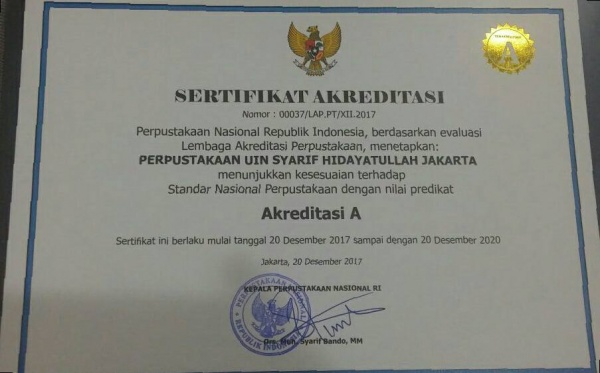 UIN Jakarta Central Library Achieves Accreditation A