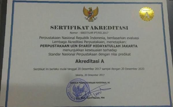 Pusat Perpustakaan UIN Jakarta Raih Akreditasi A