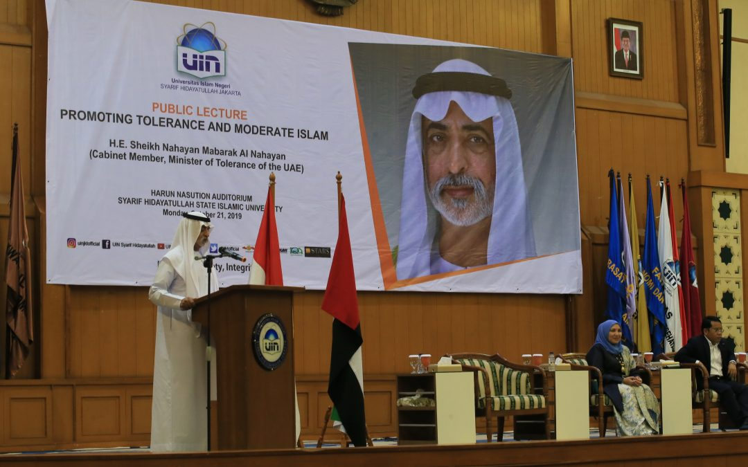 UAE's Minister of Tolerance delivers his speech at UIN Jakarta
