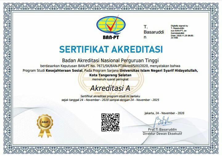 "Social Welfare study program is awarded with an ""A"" accreditation status"