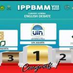 UIN Jakarta Sabet Emas Lagi di Cabang Lomba Debat Bahasa Inggris Beregu Ajang IPPBMM VII Yogyakarta